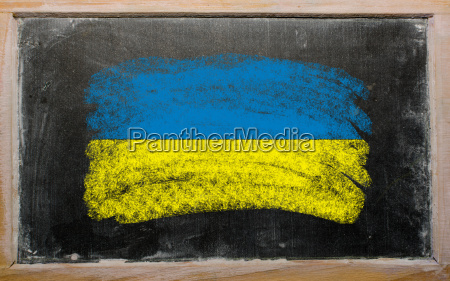 flag of ukraine on blackboard painted