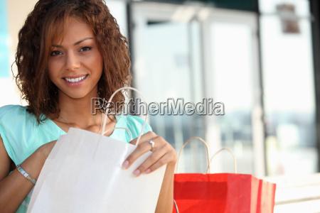 coloured girl enjoying shopping