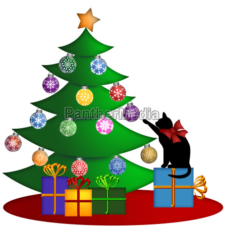 christmas tree with presents ornaments and