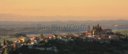 panoramic view on town on the