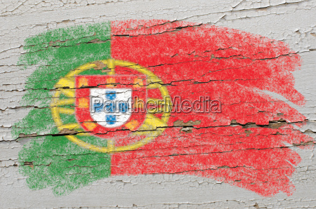 flag of portugal on grunge wooden