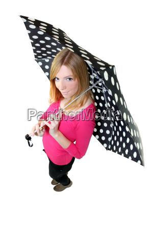 woman with a polka dot umbrella