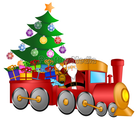 santa in train with gifts and
