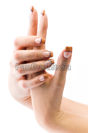 female colorful fingernails