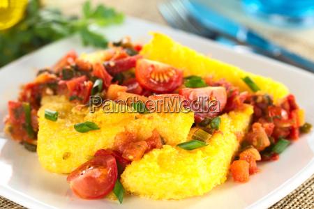 polenta slices with hogao