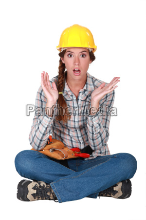 a clueless female construction worker