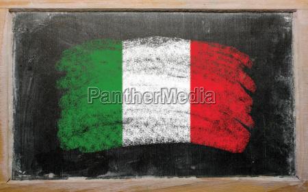 flag of italy on blackboard painted