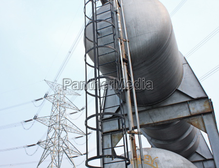 gas tanks and power tower in
