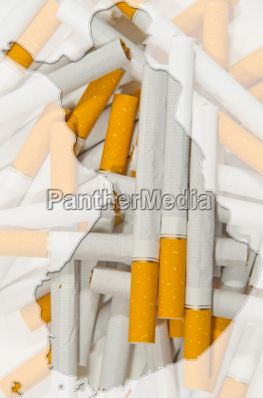map of finland with cigarettes in
