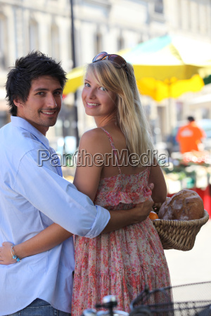 couple at an open air market