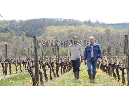 two men walking through vineyard