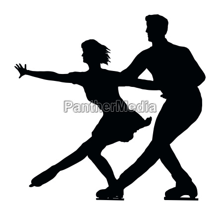 silhouette ice skater couple side by