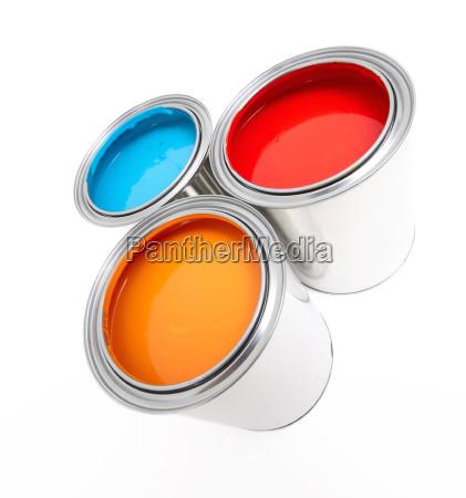 three paint buckets
