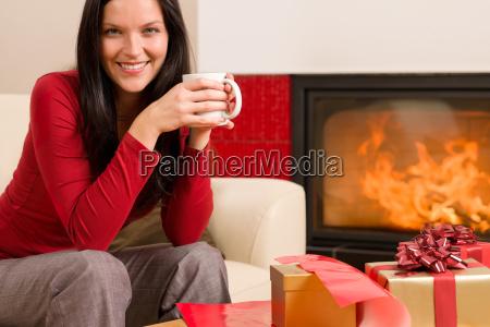 christmas present wrap woman drink home