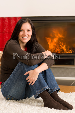 home fireplace happy woman relax warm