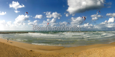 panoramic view on public beach under