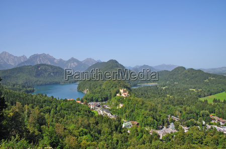 view over hohenschwangau castle with the