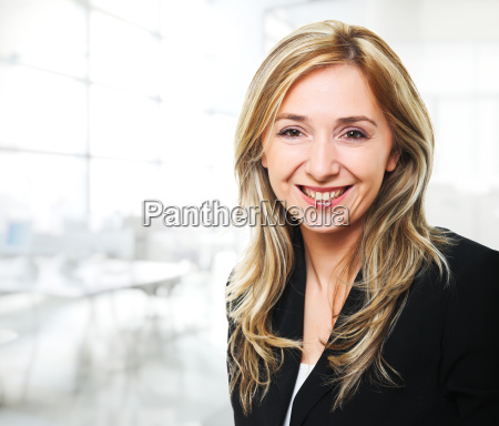 smiling woman in office