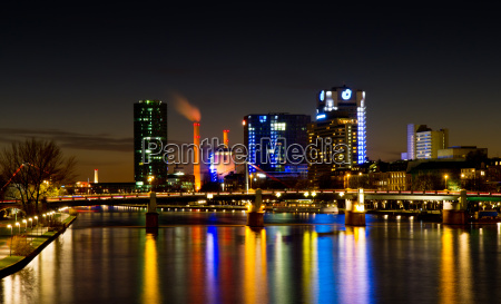 frankfurt westhafen skyline at night with