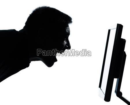 one business man face silhouette with