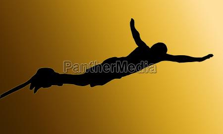 golden back male bungee jumper