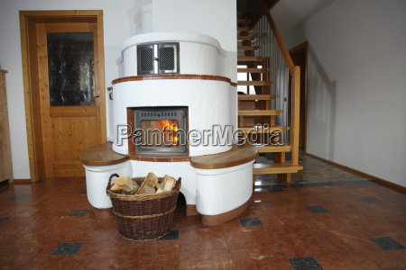 living room with stove