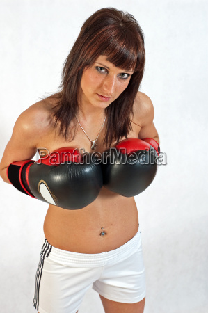 beauty with boxing gloves