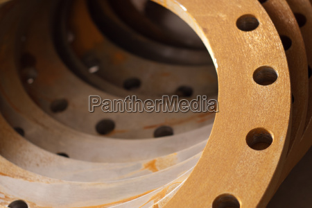 stack of flanges for pipe