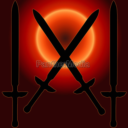 coat of arms sunset sword silhouette
