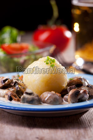 bavarian mushroom sauce with potato dumplings