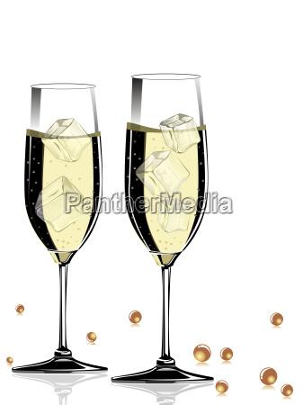 vector champange glass with shiny ball