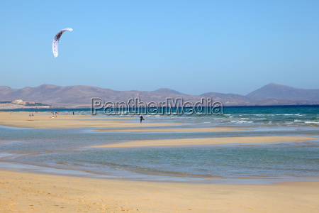 kitesurfing on the beach on canary