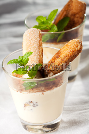 tiramisu in a glass with peppermint