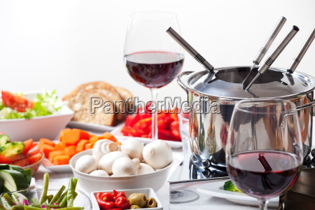 fondue and ingredients