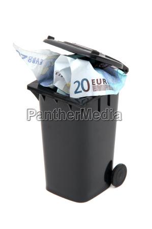 european bank notes in black rubbish