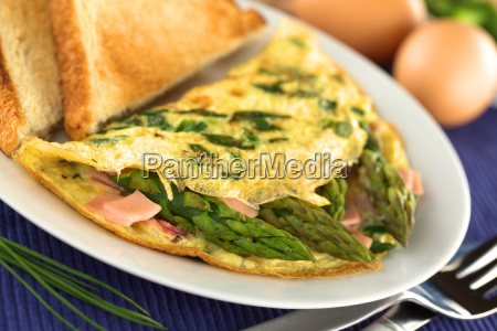 asparagus and ham omelet