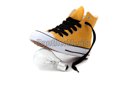 bulb under sneaker