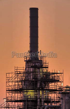 industrial chimney early morning