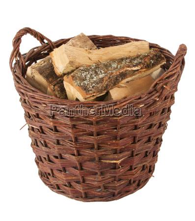 round basket with firewood