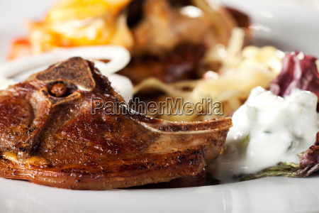 lamb chop and tzatziki