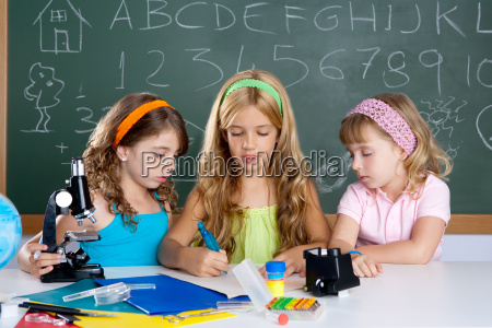 kids group of student girls at