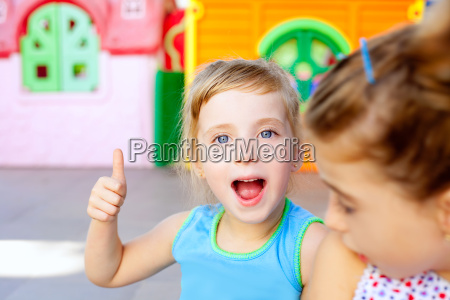 children happy little sister girls with