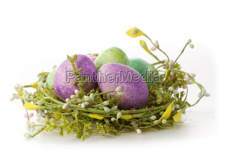 beautiful easter eggs in purple