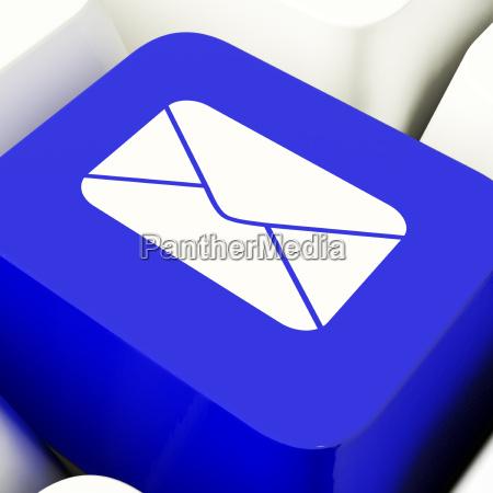 envelope computer key in blue for