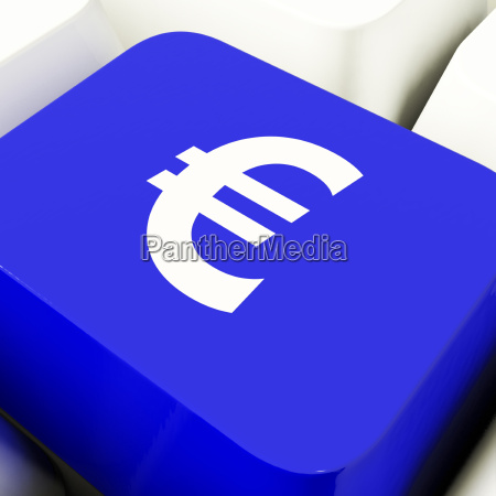 euro symbol computer key in blue