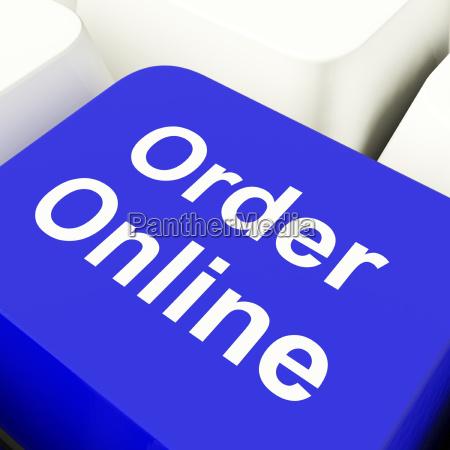 order online computer key in blue