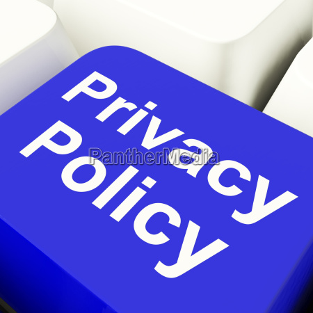 privacy policy computer key in blue