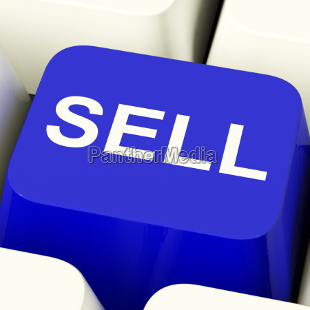 sell computer key in blue showing