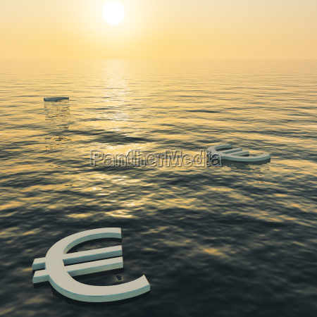 euros floating to a sunset showing