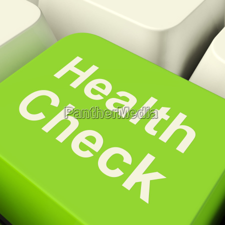 health check computer key in green
